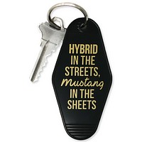 Hybrid In The Streets, Mustang In The Sheets Motel Keychain in Black