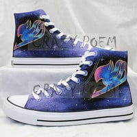 Fairy Tail  Anime Shoes with Galaxy Background  Hand Painted Shoes Black Canvas Sneakers Custom Shoes for Men and Women,US Free Shipping