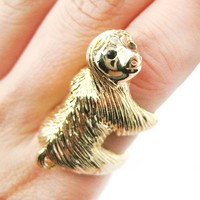 Realistic Three Toed Sloth Shaped Animal Wrap Ring in Shiny Gold   US Sizes 4 to 9