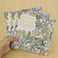 School Office Book Animal Kingdom 24 Pages Hand Painted Graffiti Coloring Books of the Relieve Stress Painting Book
