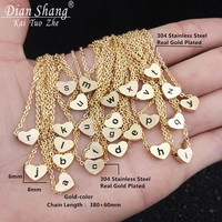 DIANSHANGKAITUOZHE Stainless Steel Chain Initial Choker Vintage Jewelry Rose Gold o p q r s t u v w x y z Heart Letter Necklace