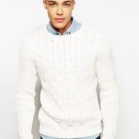 Solid Tailored Cable Knit Jumper at asos.com