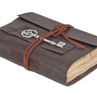 Dark Brown Leather Journal with Tea Stained Paper and Key Bookmark - Ready to Ship -