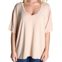 Toasted Almond Piko V-Back Short Sleeve Top