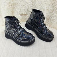 """Emily 315 Black Holo Patent Heart Stud 2"""" Platform Ankle Boot Shoes NY"""