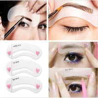 3 Styles Grooming Brow Painted Model Stencil Kit Shaping DIY Beauty Eyebrow Template Stencil Make Up Eyebrow Styling Tool