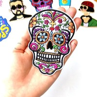 Mexican Sugar Skull Embroidered Patch