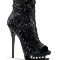 Black Glitter High Heel Boots