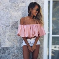 Strapless Tops Summer Ruffle Sexy T-shirts [129128824857]