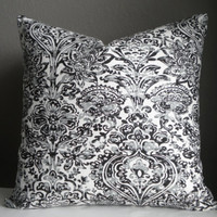 Decorative pillow cover 18 x 18 black grey white pillow cover