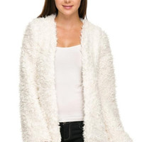 Faux Fur Long Sleeves Cardigan
