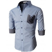 Doublju Men's Button Down Shirts With 3/4 Sleeves Pointed Collar (KMTSTL0214)