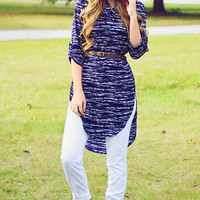 Time On The Heart Tunic: Navy/White