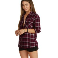 Red Cool Girl Plaid Shirt