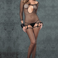 Three-piece Fishnet Body Suit With G-string and Stocking Suspenders - Lingerie Interest