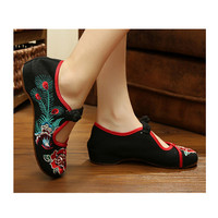 Vintage Chinese Embroidered Flat Ballet Ballerina Cotton Mary Jane Black Shoes for Women in Alluring Floral Design
