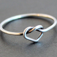 Smooth Heart Knot Ring - Argentium Sterling Silver