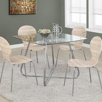 "Chrome Metal/8mm Tempered Glass 40"" Square Dining Table"