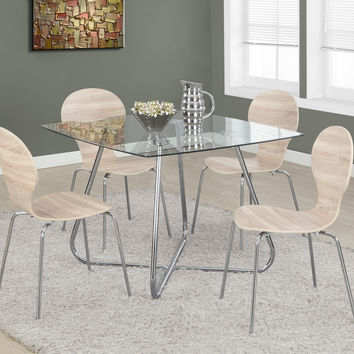 """Chrome Metal/8mm Tempered Glass 40"""" Square Dining Table"""