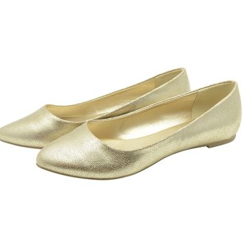 Women Ballet Flat Pointed Toe Low Heel Comfy Slip On Loafers Ballerina Shoes