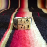 WILD EYED sterling silver and brass signet ring with hand engraved details
