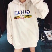 """""""Gucci"""" Woman Casual Wild Fashion Letter Sequin Printing Hodded Spell Color Loose Long Sleeve Long Tops"""