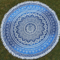 Boho Beach throw mandala, round mandala, Garden Party Decoration, Bedding, round tapestry, picnic blanket, fringes, beach hippie style 3053