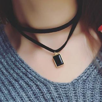 New fashion jewelry crystal with leather rope Multilayer choker necklace mix color