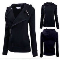 New Fashion Winter Women Zip Black Slim Fit Sweater Warm Cozy Hoodie Coat = 1920043652