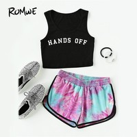 ROMWE Water Color Shirred Mid Waist Shorts Women Multicolor Tie Dye Casual Shorts 2017 Fashion Loose Summer Shorts