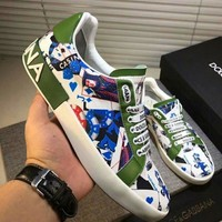 Dolce&Gabbana D&G Printed Leather White Green Sneakers - Best Deal Online