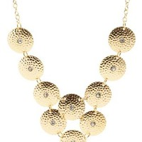 Gold Hammered Rhinestone Disk Necklace by Charlotte Russe