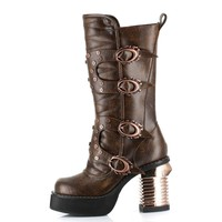 Hades Shoes H-Harajuku Steampunk captain boots with stitched inner front
