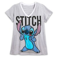 Licensed cool Lilo & Stitch Striped V-neck Tee SHIRT For WOMEN 3X & 4X PLUS Size DISNEY STORE