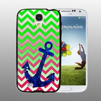 Anchor Green Pink Blue Bling - design for Samsung Galaxy S4 Black case