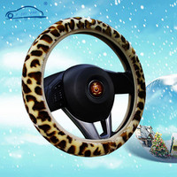 Leopard pattern Soft Warm Plush Covers for steering Winter Universal Car Steering Wheel Cover 3 colors