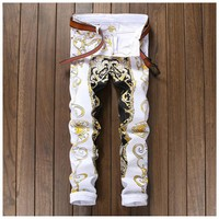 White Printed Skinny Biker Jeans Men Stretch Hip Hop Slim Denim Mens Jeans Jogger Pants