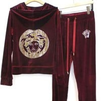 Versace Autumn Winter Popular Velvet Hoodie Sweater Coat Pants Trousers Set Two-Piece Sportswear Red