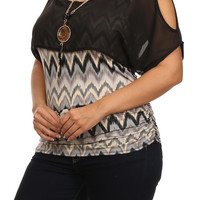 Wavy Chevron Print Top - Black - Plus Size - 1X - 2X - 3X