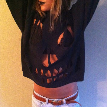 Skull Cut out Sweater MADE TO ORDER by yourafever on Etsy