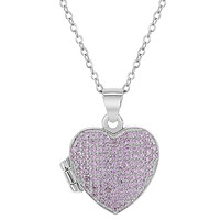"""925 Sterling Silver 16"""" Personalized Tiny Pink Cubic Zirconia Heart Photo Locket Necklace for Girls"""