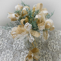 Set of 20, Burlap & Lace Filler Bows with wire stems for DIY wedding bouquets, centerpieces, cake toppers and more. Made to Order.