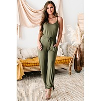 Free To Be Me Ankle Tie Jumpsuit (Olive)
