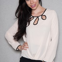 A3 Design Chiffon Blouse Top With Keyhole Cut-Outs & Contrast Trim - Nature