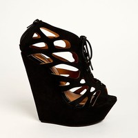 Cutout Lace Up Wedges