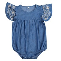 born Baby Girls Denim Romper Jumpsuit Outfits Sun suit Clothes