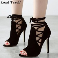 Road Track Sexy Peep Toe Ankle Boots Cross-tied Strap Suede Stiletto Pumps High Heels Lace Up Party High Heels 11 cm XWF1206-5