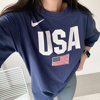 Nike New fashion letter hook print couple top t-shirt Blue