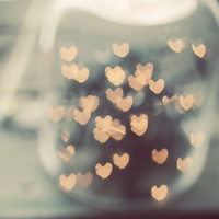Abstract lights photograph- heart, love, valentines day, dreamy, bokeh, golden, teal, whimscial, wall art, fine art print, 8x10 print
