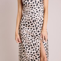 Giselle Leopard Satin Midi Dress